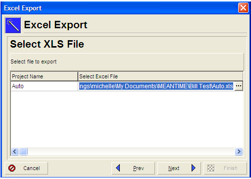 Select XLS file window